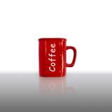 Ein roter Tasse Kaffee Stockbild