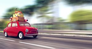 Ein rotes Auto mit Gepäck auf dem Dach geht schnell im Urlaub stock abbildung