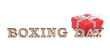 Ein rotes boxe mit Wörtern 26. DEZEMBER, lokalisiert auf Weiß Lizenzfreies Stockbild