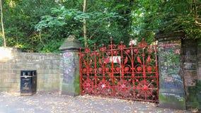 Ein rotes Gitter mit Wänden von Steinen lizenzfreies stockbild