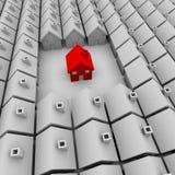 Ein rotes Haus steht alleine stock abbildung