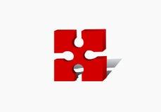 ein rotes Puzzlespiel Stockfotos
