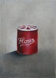 Ein rotes Weinlesemehlzinn Abbildung Stockfotos