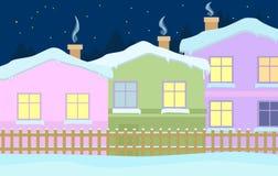 Ein ruhiger Winterabend im Dorf Lizenzfreie Stockfotografie