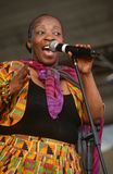 Ein Sänger, der an einem Konzert in Südafrika durchführt lizenzfreie stockbilder
