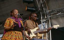 Ein Sänger, der an einem Konzert in Südafrika durchführt lizenzfreie stockfotos
