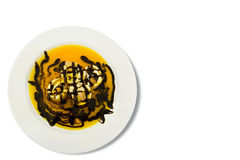 Ein süßer Pfannkuchen mit Acajounuss und Schokolade. Lizenzfreies Stockbild