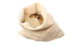 Ein Sack gefüllt mit Münzen Stockbilder