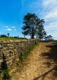 Ein sandiger Weg mit einer rustikalen Backsteinmauer an einem sonnigen Tag in den Surrey-Hügeln stockbilder