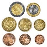 Ein Satz abgetragene Euromünzen stockfotografie