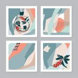 Ein Satz abstrakte Weihnachtskarten Stockbilder