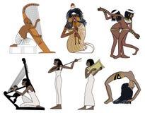 Ein Satz alte ägyptische Musik- und Tanzillustrationen Lizenzfreie Stockbilder