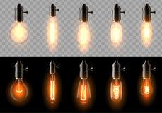 Ein Satz alte, klassische, Retro- Glühbirnen von verschiedenen Formen Auf einem transparenten und schwarzen Hintergrund lizenzfreie abbildung