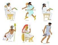 Ein Satz altgriechische Götter und Göttinnen lizenzfreie abbildung