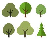 Ein Satz Bäume im Stil des flachen Designs Stockbilder