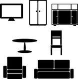 Ein Satz Bilder des schwarzen Schattenbildes der Möbel auf einem Weiß lizenzfreie abbildung