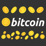 Ein Satz bitcoins Verschiedene Haltungen von bitcoins Stockbild