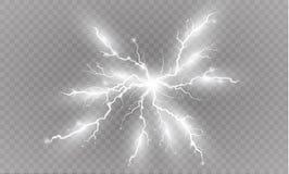 Ein Satz Blitz Magie und helle Lichteffekte Auch im corel abgehobenen Betrag Elektrischer Strom der Entladung Gebührenstrom Lizenzfreie Stockbilder