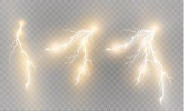 Ein Satz Blitz Magie und helle Lichteffekte Auch im corel abgehobenen Betrag Elektrischer Strom der Entladung Gebührenstrom Stockfotografie