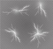 Ein Satz Blitz Magie und helle Lichteffekte Auch im corel abgehobenen Betrag Elektrischer Strom der Entladung Gebührenstrom Lizenzfreie Stockfotografie