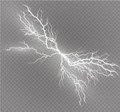 Ein Satz Blitz Magie und helle Lichteffekte Auch im corel abgehobenen Betrag Elektrischer Strom der Entladung Gebührenstrom Lizenzfreies Stockbild