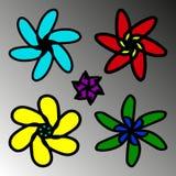 Ein Satz Blumen in Kind-` s Design lizenzfreie abbildung