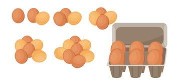 Ein Satz braune Eier, ein Bündel Eier in den verschiedenen Zahlen - von eine bis sieben lizenzfreie stockfotos