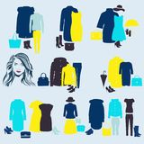 Ein Satz bunte Kleidung für Mädchen Lizenzfreies Stockfoto