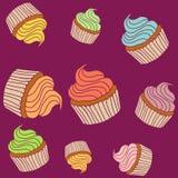 Ein Satz bunte kleine Kuchen Stockbild