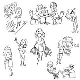 Ein Satz der flüchtigen Frauenillustration lizenzfreie abbildung