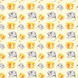 Ein Satz der grauen Ratte und ein St?ck gelber K?se Symbol von 2020 neuem Jahr Aquarellillustration lokalisiert auf gelbem Hinter stockfotos