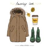 Ein Satz der Herbstausstattung mit Zubehör: brauner Parka, grüner Stiefel Lizenzfreie Stockbilder