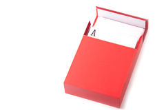 Ein Satz der Karte innerhalb eines roten Kastens stockfoto
