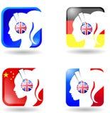Ein Satz der Logoübersetzung Lizenzfreies Stockfoto
