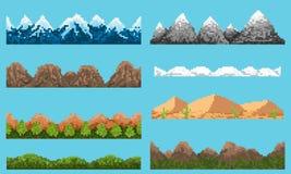 Ein Satz der nahtlosen Elementlandschaft des Pixels stock abbildung