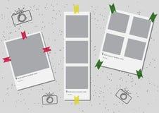 Ein Satz der quadratischen Rahmenschablone mit Schatten und mit dem farbigen Bandgrüngelb rot Vektorabbildung ENV 10 foto Stockbilder