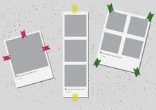Ein Satz der quadratischen Rahmenschablone mit Schatten und mit farbigem Band Vektorabbildung ENV 10 Fotorahmen Photobook Lizenzfreies Stockfoto
