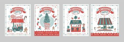 Ein Satz des Plakate oder Postkarten Weihnachtsmarktes, guten Rutsch ins Neue Jahr lizenzfreie stockfotografie