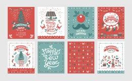 Ein Satz des Plakate oder Postkarten Weihnachtsmarktes, guten Rutsch ins Neue Jahr lizenzfreie abbildung