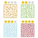 Ein Satz des Quadrats färbte Labyrinthe mit einer Bewertung von Sternen Vier Niveaus Schwierigkeit Einfache flache Vektorillustra Vektor Abbildung