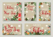 Ein Satz des Weihnachts- und des neuen Jahresgrußes Karten lizenzfreie abbildung