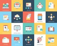 Ein Satz Digital-Marketing-der flachen Vektor-Illustration Stockfoto