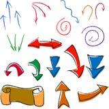 Ein Satz einfache raznotsvetoh Pfeile und Zeichen vektor abbildung