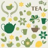 Ein Satz Elemente auf dem Thema des Tees Lizenzfreie Stockbilder