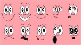 Ein Satz emoji, ein Satz Gefühle von lustigen Gesichtern mit verschiedenen Gefühlen, Freude, Traurigkeit, Furcht, Überraschung, L Stock Abbildung
