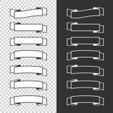 Ein Satz Fahnenbänder Mit Platz für Text Eine einfache flache Vektorillustration lokalisiert auf einem schwarzen und transparente Stock Abbildung