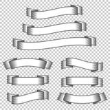Ein Satz Fahnenbänder Mit Platz für Text Eine einfache flache Vektorillustration lokalisiert auf einem transparenten Hintergrund Lizenzfreie Abbildung