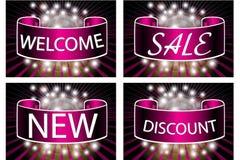 Ein Satz farbige Hintergründe mit den Wörtern Verkauf, Willkommen, Rabatt, neu Stockfotografie