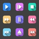 Ein Satz flache Ikonen, die einen Schatten mit dem Inhalt der Charaktere für das Spielen von Audioaufnahmen werfen Vektor Lizenzfreie Stockbilder