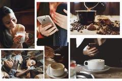 Ein Satz Fotos des Konzeptes des Lebensstils, im Stil des instagram lizenzfreie stockfotos